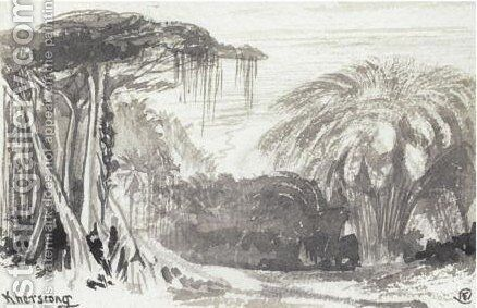 A View Of Khersrong, India by Edward Lear - Reproduction Oil Painting