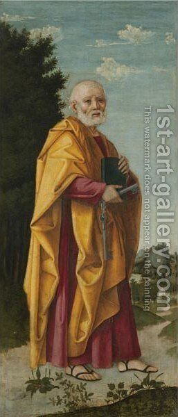 Saint Peter In A Landscape by Girolamo dai Libri - Reproduction Oil Painting