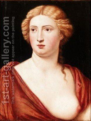 Portrait Of A Courtesan, Head And Shoulders, Wearing A Red Dress by Bernardino Licinio - Reproduction Oil Painting