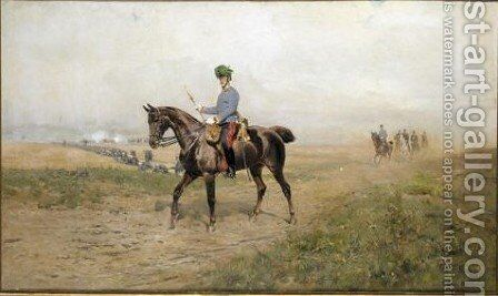 Portrait Of Albrecht Archduke Of Austria (1817-1895), Commander-In-Chief Of The Austrian Army On Horseback by Thaddeus von Ajdukiewicz - Reproduction Oil Painting
