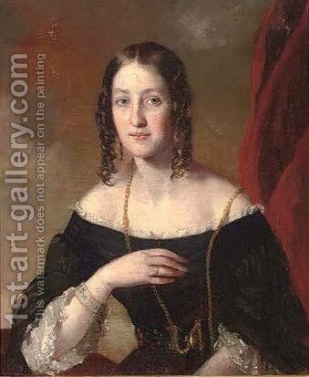 Portrait of a lady, half-length, in a black dress with white lace trim by Girolamo Francesco Maria Mazzola (Parmigianino) - Reproduction Oil Painting
