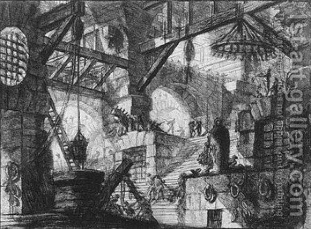 Carceri d'Invenzione 5 by Giovanni Battista Piranesi - Reproduction Oil Painting