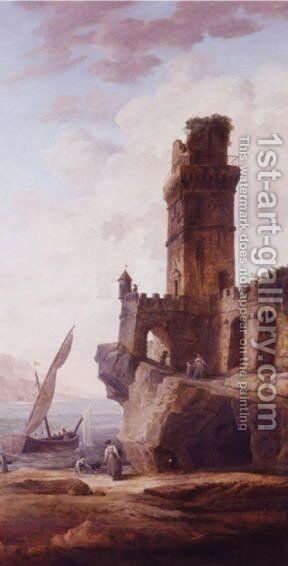 Figures By The Ruins Of A Castle On A Rocky Shore by Hubert Robert - Reproduction Oil Painting