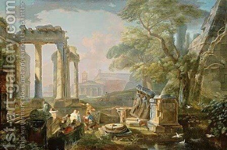Figures amongst classical ruins by Hubert Robert - Reproduction Oil Painting