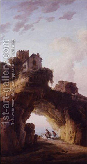Shepherds In A Grotto Beneath A House by Hubert Robert - Reproduction Oil Painting