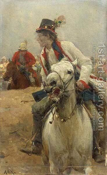 The wedding day Cossacks on horseback by Alfred Wierusz-Kowalski - Reproduction Oil Painting