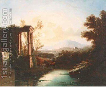 An Italianate landscape with a shepherd and cattle by classical ruins by Claude Lorrain (Gellee) - Reproduction Oil Painting