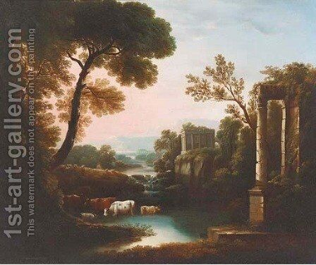 An Italianate landscape with classical ruins by Claude Lorrain (Gellee) - Reproduction Oil Painting