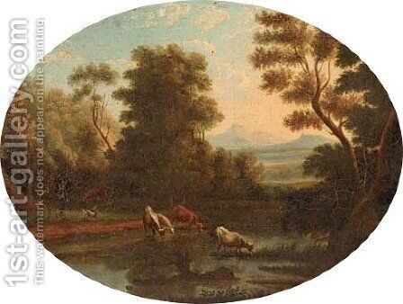 A Landscape with cattle at a river by Claude Lorrain (Gellee) - Reproduction Oil Painting