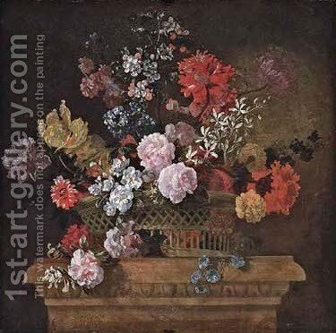 Roses, convolvulus, spider lilies, parrot tulips, a peony and other flowers in a basket on a pedestal by Jean-Baptiste Monnoyer - Reproduction Oil Painting