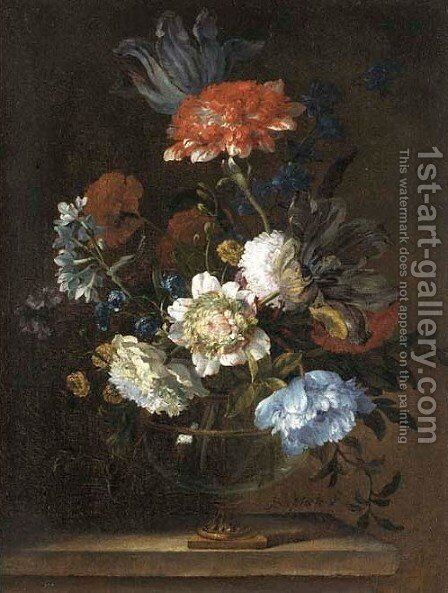 Parrot tulips, chrysanthemums, cornflowers and other flower by Jean-Baptiste Monnoyer - Reproduction Oil Painting