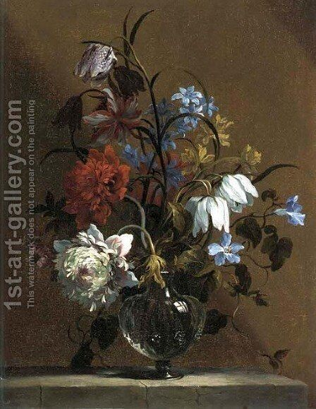 Carnations, snake's head, narcissi and other flowers in a glass vase on a stone ledge by Jean-Baptiste Monnoyer - Reproduction Oil Painting