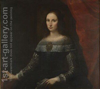 Portrait Of A Lady, Three-Quarter Length, Wearing A Large Brooch by Carlo Francesco Nuvolone - Reproduction Oil Painting