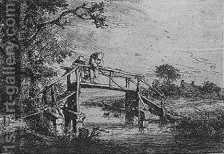 Bridge on a river by Adriaen Jansz. Van Ostade - Reproduction Oil Painting