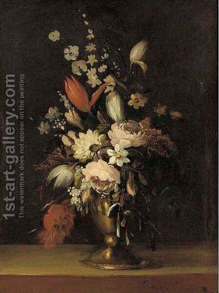 Roses, tulips, morning glory, narcissi and other flowers in a vase by Bartolome Perez - Reproduction Oil Painting