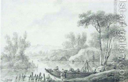 An extensive river landscape with peasants loading a skiff by Jean-Baptiste Pillement - Reproduction Oil Painting