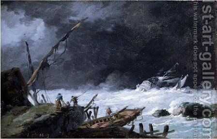 A Storm With Sailors Tending A Shipwreck On The Shore, A Man-O-War Sinking In The Distance by Jean-Baptiste Pillement - Reproduction Oil Painting