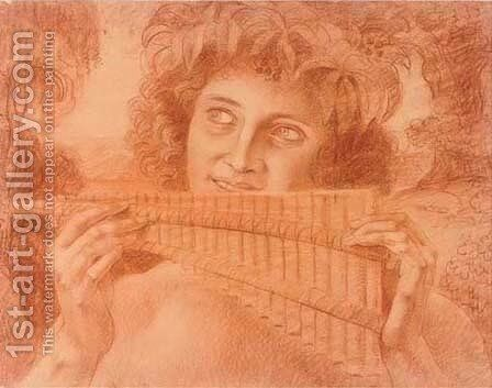 A Bacchanale playing the Pan pipes by Armand Point - Reproduction Oil Painting