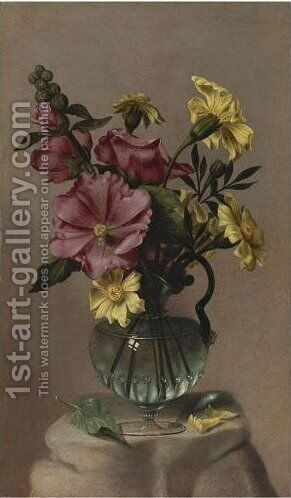 Vase Of Hollyhocks And African Marigolds by Antonio Ponce - Reproduction Oil Painting