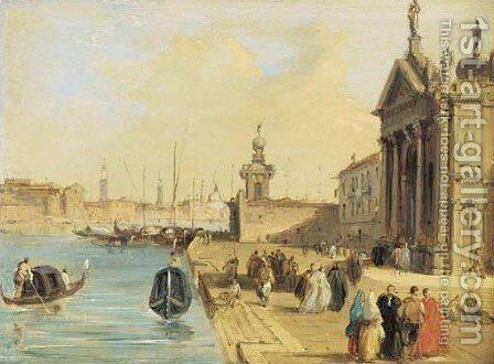 The Entrance to the Chruch of Santa Maria della Salute by Edward Pritchett - Reproduction Oil Painting