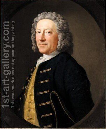 Portrait Of A Naval Officer, Possibly Mr Sinclair by Allan Ramsay - Reproduction Oil Painting