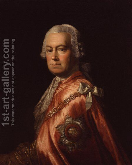 Portrait of Sir Andrew Mitchell, K.B. (1708-1771) by Allan Ramsay - Reproduction Oil Painting