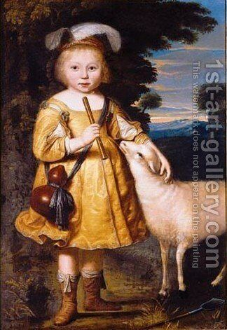 Portrait Of A Young Child, Full Length, Dressed As A Shepherd And Holding A Pipe, A Lamb Beside Him by Dirck Dircksz. Santvoort - Reproduction Oil Painting