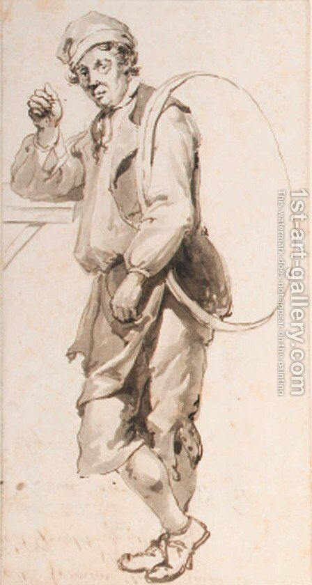 Study of a cooper with a metal ring by Abraham van, I Strij - Reproduction Oil Painting