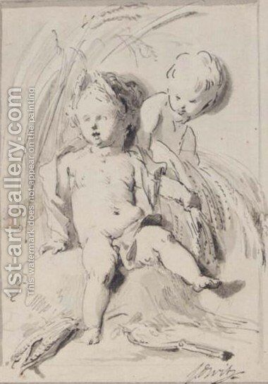 Two Putti, With Sheaves And Corn-Cobs, In A Niche by Jacob de Wit - Reproduction Oil Painting