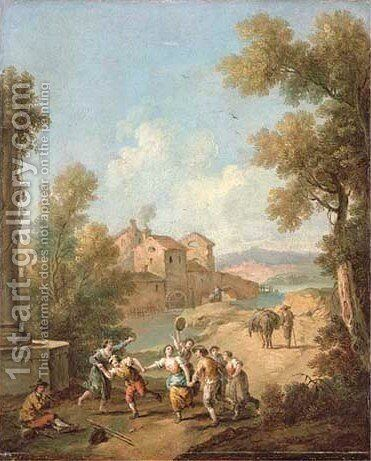 An Italianate river landscape with peasants making music by Giuseppe Zais - Reproduction Oil Painting