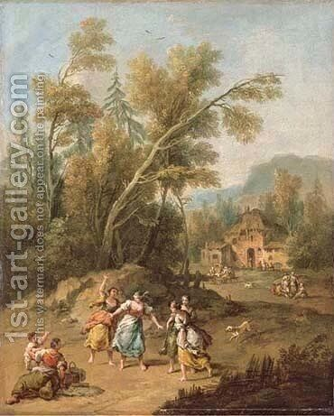 An Italianate wooded landscape with young peasant women playing by Giuseppe Zais - Reproduction Oil Painting