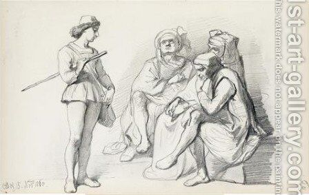 Sketch of figures by Cesare Felix dell' Acqua - Reproduction Oil Painting