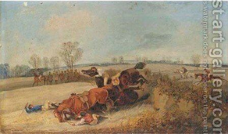 The Liverpool Steeplechase, Spring Meeting, 28th February 1849 by Henry Thomas Alken - Reproduction Oil Painting