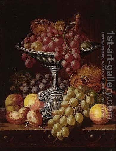 Grapes, peaches and apricots on a table by Charles Thomas Bale - Reproduction Oil Painting