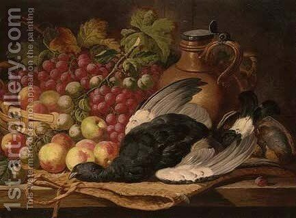 Blackcock, an English partridge, apples, grapes and a pitcher on a table by Charles Thomas Bale - Reproduction Oil Painting