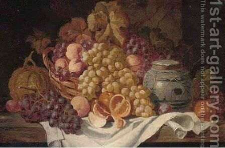 Grapes, oranges, peaches, a melon, and a ceramic jug by Charles Thomas Bale - Reproduction Oil Painting