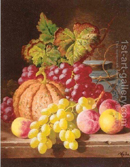 Grapes, peaches, a squash and a ginger jar on a table by Charles Thomas Bale - Reproduction Oil Painting