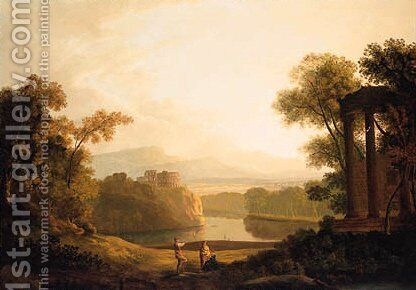 Figures in a classical wooded Lake Landscape by Copplestone Warre Bamfylde - Reproduction Oil Painting