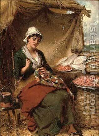 The fishmongers wife by Edward Charles Barnes - Reproduction Oil Painting
