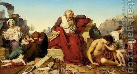 Jeremia Seated In The Ruins Of Jerusalem by Eduard (Julius Friedrich) Bendemann - Reproduction Oil Painting