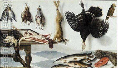 A Game Larder With A Hare, Partridge, Snipe,a Turkey , A Side Of Meat, Capons, Starlings, Pike, Eel And Fish With A Parrot by Cornelis Biltius - Reproduction Oil Painting
