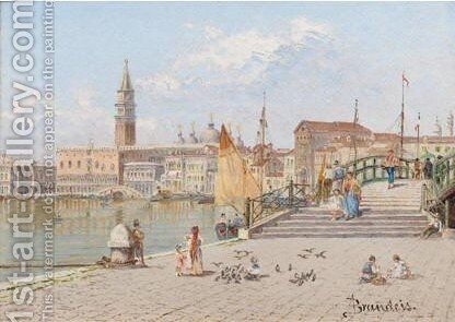 View Across The Lagoon To The Doge's Palace by Antonietta Brandeis - Reproduction Oil Painting