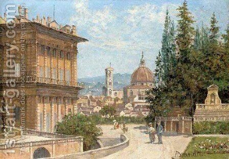 View of Florence from the Baboli Gardens with the Duomo in the distance by Antonietta Brandeis - Reproduction Oil Painting