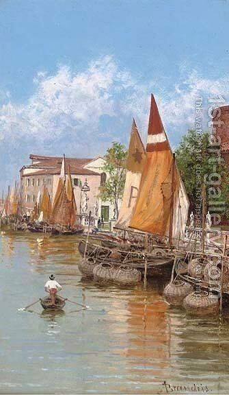 Rowing past the lobster pots, Venice by Antonietta Brandeis - Reproduction Oil Painting