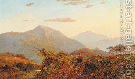 Sunset, near Capel Curig by Alfred de Breanski - Reproduction Oil Painting