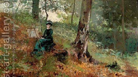A lady artist in a wood by Hector Caffieri - Reproduction Oil Painting