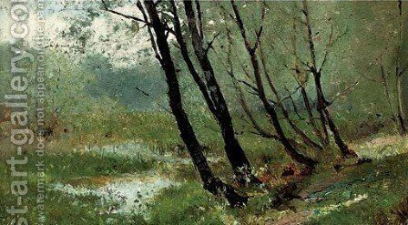 A wooded river landscape by Hector Caffieri - Reproduction Oil Painting