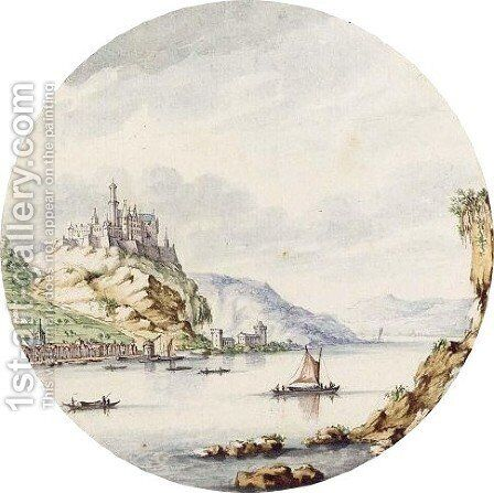 View Of The Rhine, With The Village Of St. Goar And Castle Rheinfels In The Distance by Jan I van Call - Reproduction Oil Painting