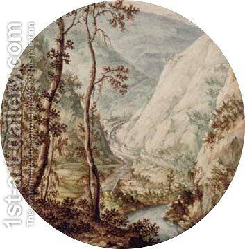 A steep valley with a watermill by Jan I van Call - Reproduction Oil Painting