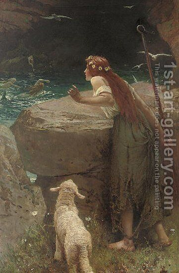 The shepherdess 2 by Edward Frederick Brewtnall - Reproduction Oil Painting